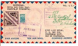 1951 Granada Nicaragua Airmail Cover to Guatemala - Nice Markings Front & Back