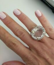 John Hardy Sterling Silver White Sapphire Ring Size 5 dome bamboo