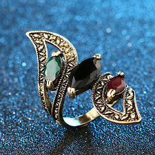Fashion Vintage Big Ring Antique Gold Mosaic Colorful Resin Rings for Women 8