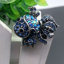 Women Alloy Rhinestone Crystal Goldfish Wedding Bridal Bouquet Brooch Pins Chic