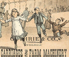 LINCOLN NE TRADE CARD, GUTHRIE & CO. CARRIAGES, FARM etc IN A ROLLER RINK  TC223