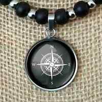 Nautical Compass Sailing Gift Pendant Leather Cord Necklace Men's Women's 2