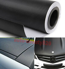 "12"" x 60"" Cool Car 3D Carbon Fiber Texture Vinyl Wrap Sticker Film Black - HD"