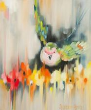 ADORABLE BIRD POSTER red orange yellow pink abstract flowers green blue 11x14