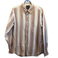 Lucky Brand Orange And Tan Long Sleeve Button Down Mens Size Large