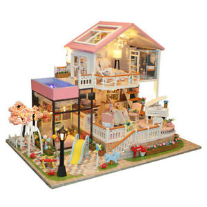 BINGBIAN Dolls House Furniture Wooden Miniature Set Doll Toys House Family Person Figures Pretend Play Dollhouse for Kids Child