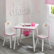 Kids Chair Table Set Princess Crown Children Activity Desk Storage Furniture Set