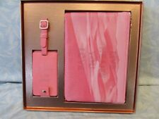 "Fringe Studio Luggage Tag + Pouch set Coral Pink NIB ""Live the life you love"""