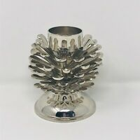 Pine Cone Candle Stick Holder Mixed Metals Silver Tone Christmas Decor Holiday