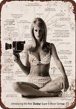 "9"" x 12"" Metal Sign - 1967 Vivitar Super 8 Movie Camera - Vintage Look Reproduct"