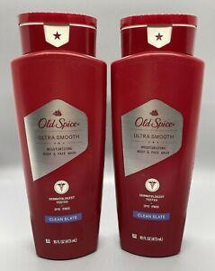2X Old Spice Moisturizing Body & Face Wash CLEAN SLATE Ultra Smooth 16oz #B258C