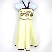 Funky People Womens M Purple Cream Cotton Halter Neck Embroidered Eyelet Dress
