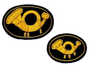 Infantry (Horns) Insignias Hat + Kepi, Wire Bullion embroidered, New