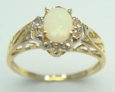 NEW 10KT YELLOW GOLD OVAL CUT OPAL & DIAMOND RING SIZE 7  R973