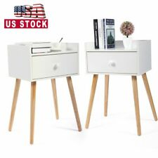 Set of 2 Bed Side End Table Solid Wood Legs Nightstand w/Drawer BedroomFurniture