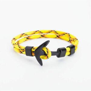 Anchor Hook Rope Multilayer Bracelet Wristband Men Nautical Wrap Around Bangle