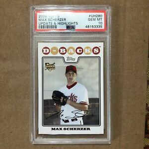 2008 Topps Update Baseball #UH280 Max Scherzer PSA 10 graded rookie card