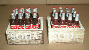 Two 1/12 Scale Cases of Soda Pop Bottles for Diorama Miniature Cola Drink Crate