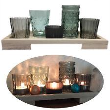 Design Holz Kerzentablett Teelichthalter-Set 5 Gläser Windlichter Deko-Tablett