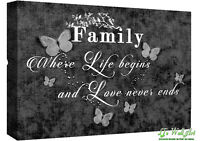 FAMILY QUOTE - Life - Black & White Canvas Wall Art Picture Print- ALL SIZES
