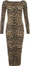 Regular Size Viscose Animal Print Dresses for Women