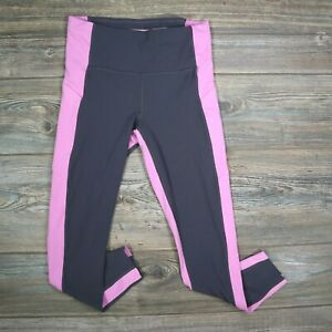 Athleta Cropped Purple Stripe Leggings Womens Size M