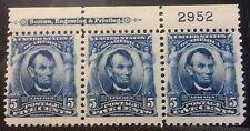 US Scott 304 5¢  Regular Issue 1902 - Strip OF 3 W/  Plate # MVLH to MNH