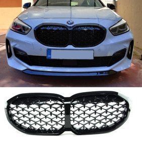 BMW 1 & 2 series F40 F44 gloss black DIAMOND style front kidney grilles pair UK