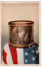 Postcard Patriotic Phostint Drum Beaten at Battle of Lexington Revolutionary War
