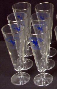 1960's Baltimore Colts Pilsner Beer Glasses w/Bucking Colt Logo, Lot of 6