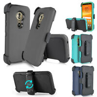 For Motorola Moto G7 Power/ E5 Plus/Z4 Play Case Hybrid Armor Clip Holster Cover