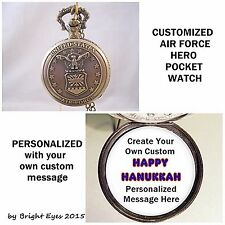 "CUSTOM Personalized USA Air Force Military Pocket Watch 31"" Necklace OOAK"