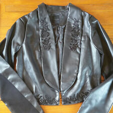 New SILVIAN HEACH PU Leather Blazer Jacket Size M Black Embroidered Flower
