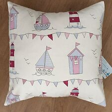 """New Fryetts Pink Maritime Boats huts Seaside Fabric Scatter Cushion Covers 16"""""""