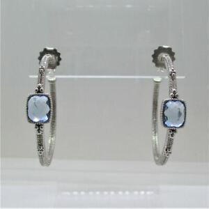 Judith Ripka Sterling Silver & 18K Posts Tanzanite Hoop Earrings