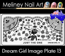 Dream Girl 13 Stamping Nail Art Image Plate Design Rectangle XL Stencil metal
