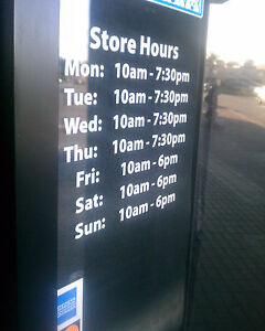 Business Custom Window Door Glass Store Hours Vinyl Decal Sign Sticker