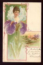 ART NOUVEAU artist drawn 1901 Lady Flower u/b PPC