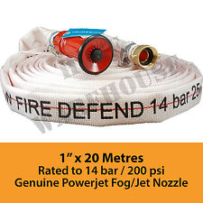 "1"" x 20Mtr Canvas Layflat Fire Hose Genuine Powerjet Nozzle, 1"" BSP FREE FREIGHT"