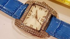 Louis Arden Quartz Rectangle watch Blue band white Dial Crystals Girls Woman #2