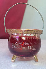 EAPG Ruby Stain Witches Kettle Match Toothpick Holder U. S. Glass 1910