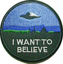"""3"""" I Want to Believe TV MOVIE X-Files Embroidered SEW ON IRON ROUND Patch"""