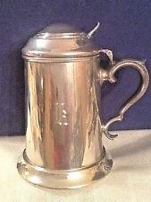 Vintage E & H Simon Marlboro Pewter Beer Stein, Tankard, Mug with Lid MONOGRAM K