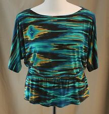 Perceptions New York, Size 10, Teal Multi Knit Top