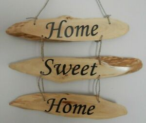 """COFFEE WOOD HANGING SIGN PLAQUE """"HOME SWEET HOME"""" GIFT"""