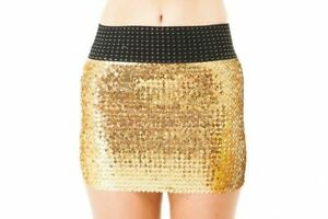 Sparkling Stretch Fit All Over Sequined Disco Party Clubwear Mini Skirt XS New