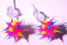 Boucles d'Oreilles Fluo Virus Bijoux rose jaune pink yellowEarrings