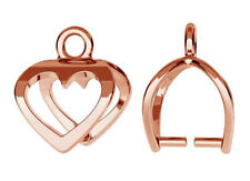 STERLING SILVER 925 PENDANT BAIL + OPEN HEART & RING, 12 MM, ROSE GOLD PLATED