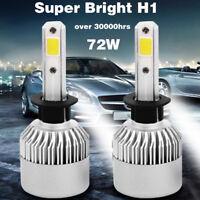 2X Super Bright COB H1-S2 72W LED Car Headlight Fog Light Lamp Bulb 8000LM 6500K