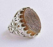 Agate aqeeq aqiq 925 Silver Men Ring- Quran-Islamic yemen- yemeni